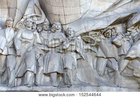 MINSK BELARUS - OCTOBER 1 2016: Fragment of bas-relief