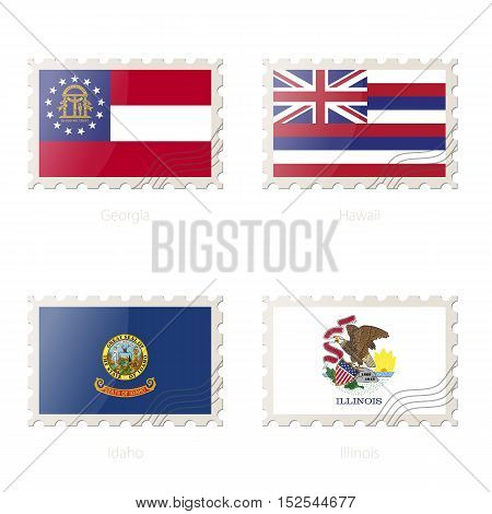 Postage Stamp With The Image Of Georgia, Hawaii, Idaho, Illinois State Flag.
