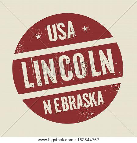 Grunge vintage round stamp with text Lincoln Nebraska vector illustration