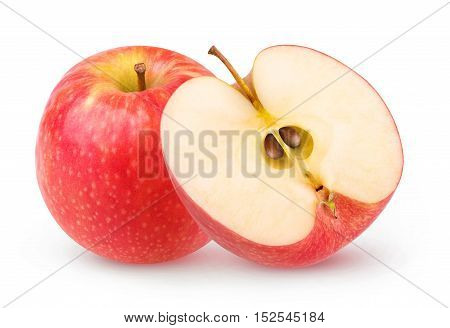 Isolated One And A Half Red Apples