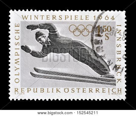 AUSTRIA - CIRCA 1964 : Cancelled postage stamp printed by Austria, that shows Ski jumping.