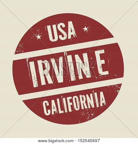 Grunge vintage round stamp with text Irvine California vector illustration