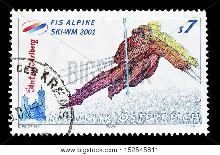 AUSTRIA - CIRCA 2000 : Cancelled postage stamp printed by Austria, that shows Alpine skiing.