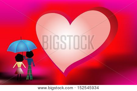 Red background for Valentines Day with couple in love
