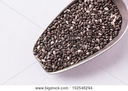 Chia Seeds On Wood Background. Chia Seeds Protect Heart,superfood. Healthy Food