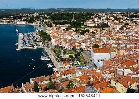The panoramic view from the bell tower Church of St. Euphemia on the old town of Rovinj, Croatia.