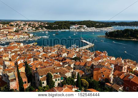 The panoramic view from the bell tower Church of St. Euphemia on the old town of Rovinj, Croatia