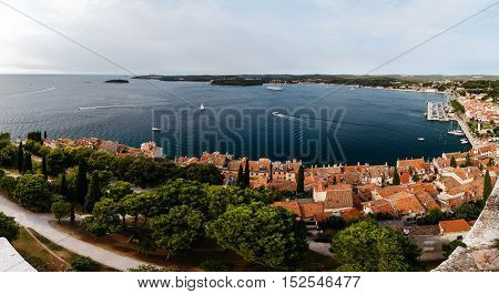 The panoramic view from the bell tower Church of St. Euphemia in the old town of Rovinj, Croatia.
