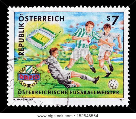 AUSTRIA - CIRCA 1997 : Cancelled postage stamp printed by Austria, that shows Football.