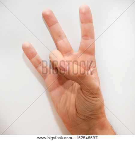 Number seven in the American Sign Language (ASL) shown with one hand and fingers