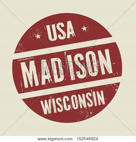 Grunge vintage round stamp with text Madison Wisconsin vector illustration