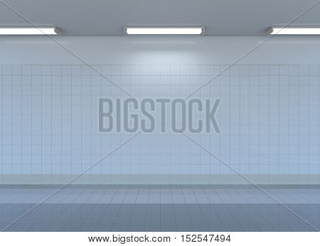 Empty metro station interior with tile wall, floor and lamps. 3D rendering