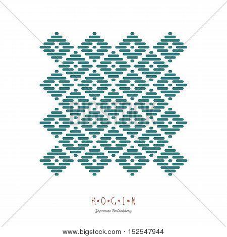 Postcard. Japanese Kogin Embroidery Style.