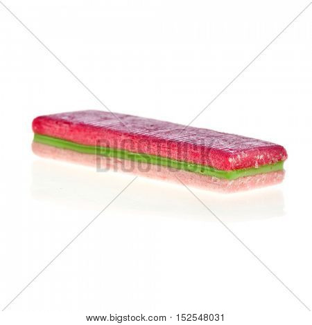 one striped chewing gum isolated on a white background