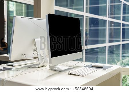Computer  on table in office, Workspace