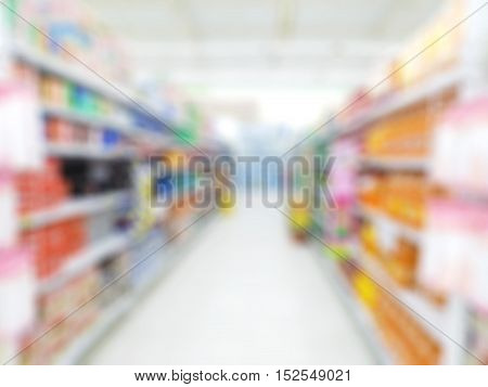 blur supermarket convenience store product shelf de focused for background
