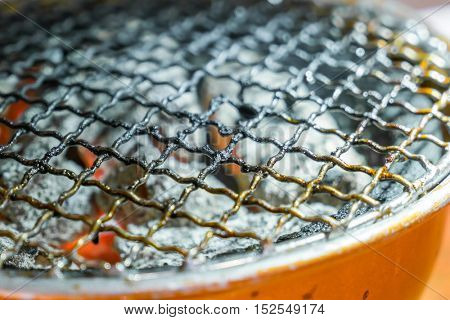 Used dirty hot barbecue grill