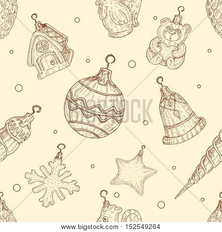 Christmas tree toys seamless patternin hand drawn style.
