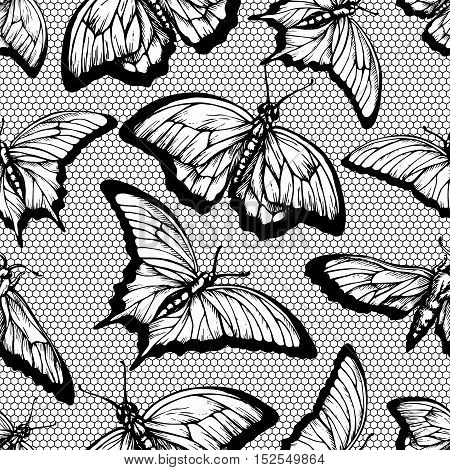 Black lace seamless pattern with butterflies and lattice on white background.