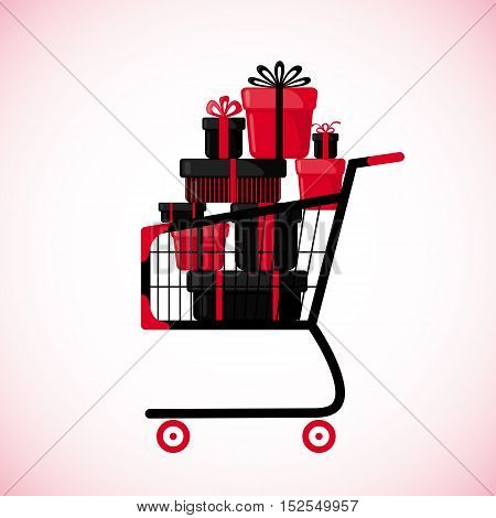 Shopping cart full of gift boxes. in flat style isolated on white background. Vector illustration.