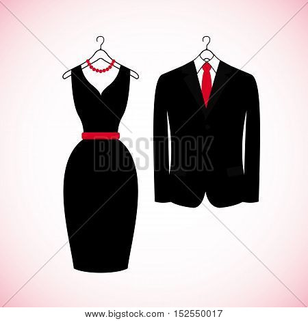 Elegant suits icons in flat style isolated on white background. Womans black dress and mans suit. Vector illustration