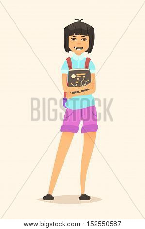 Schoolgirl with book in hand. Illustration of a cartoon character. Vector flat design.