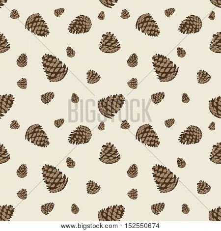 Seamless pattern with pinecones. Design or background for invitation poster greeting cards wallpaper. New year holiday vector illustration