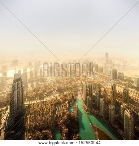 View at Sheikh Zayed Road skyscrapers from Burj Khalifa in Dubai.