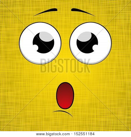 Cartoon face design. Yellow background. Vector Illustration
