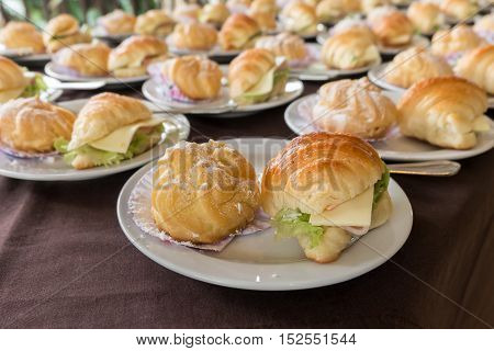 Croissant ham cheese and Cream Puff for serving