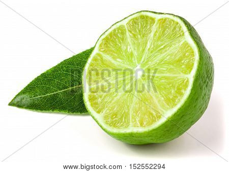 Lime half with leaf isolated on white background.