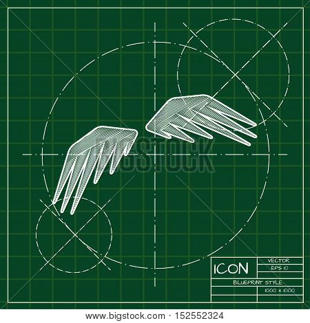 Vector blueprint wings icon . Engineer and architect background.