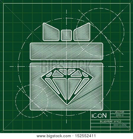 Vector blueprint present diamond icon . Engineer and architect background.