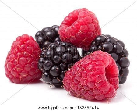 pile of raspberries and blackberries isolated on white background.