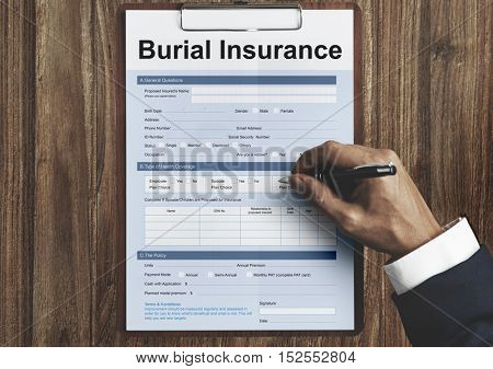 Burial Insurance Form Policy Concept