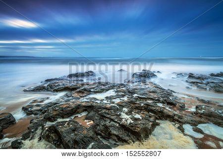 Atlantic ocean in Ireland at stormy weather