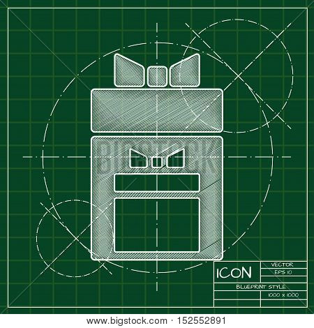 Vector blueprint two presents icon . Engineer and architect background.