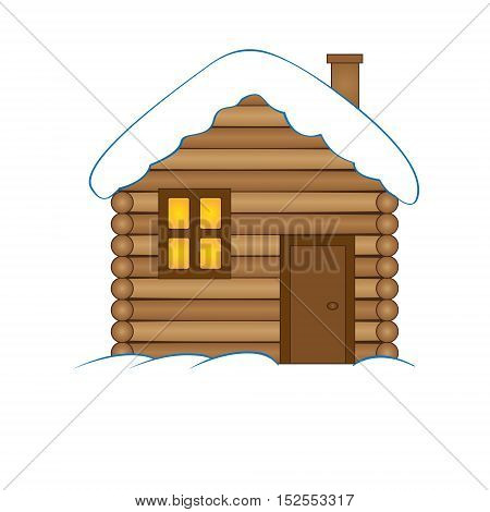 House with snow. Winter snowy Christmas home cottage isolated on white background.