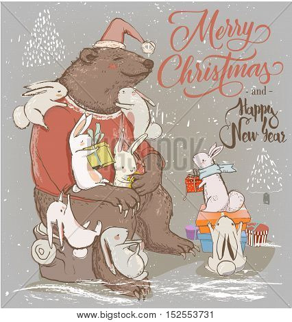 christmas card with cute bear and little hares