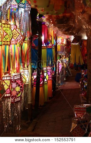 A view inside a streetside lantern shop during Diwali festival in India.