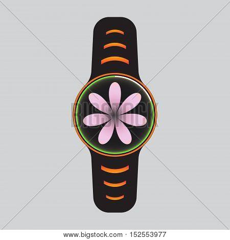 Black smart watch with pink flower decor. Smart watch vector logo.
