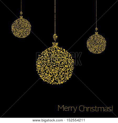 Merry Christmas. Golden Abstract magic balls, Holiday illustration