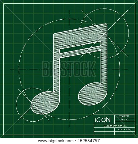 Vector blueprint music icon . Engineer and architect background.