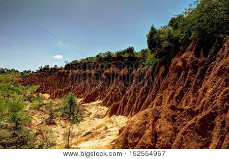 Erosion sand ravine near Kei Afer local market Ethiopia