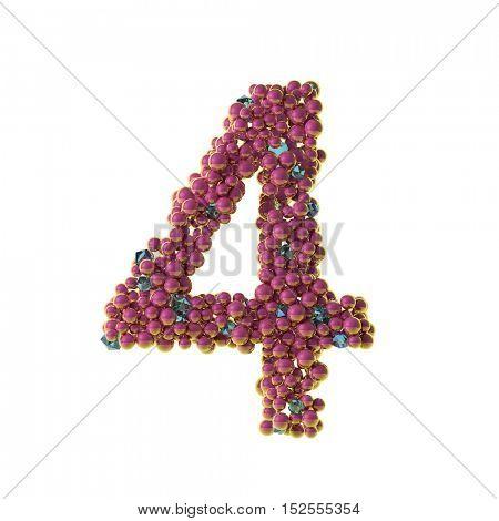 bubbles numbers 4, four, 3d illustration