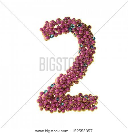 bubbles numbers 2, two, 3d illustration