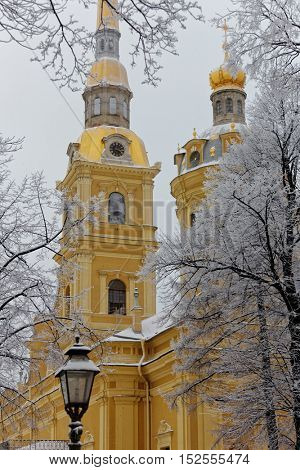 ST. PETERSBURG, RUSSIA - JANUARY 17, 2016: St. Peter and Paul Cathedral in a winter day. Built between 1712 and 1733, it is the first and oldest landmark in St. Petersburg