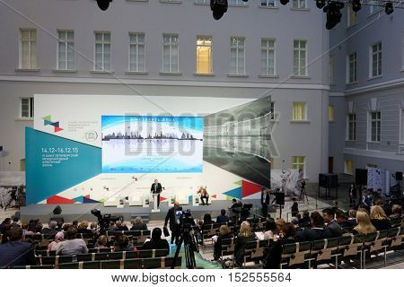 ST. PETERSBURG, RUSSIA - DECEMBER 14, 2015: Plenary meeting dedicated to 25 anniversary of including the Russian sites in UNESCO World Heritage list during St. Petersburg International Cultural Forum