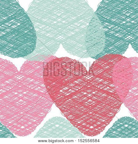 Abstract seamless vector pattern illustration. St. Valentine`s day decoration symbol concept. Many repeating pastel colored tangled hearts on the white (transparent) background. Vector eps illustration
