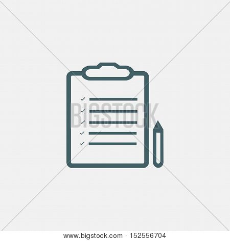 pictograph of note. document with pencil icon isolated on white background